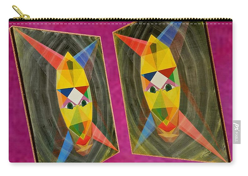 Modernism Carry-all Pouch featuring the painting Shots Shifted - Le Mage 5 by Michael Bellon