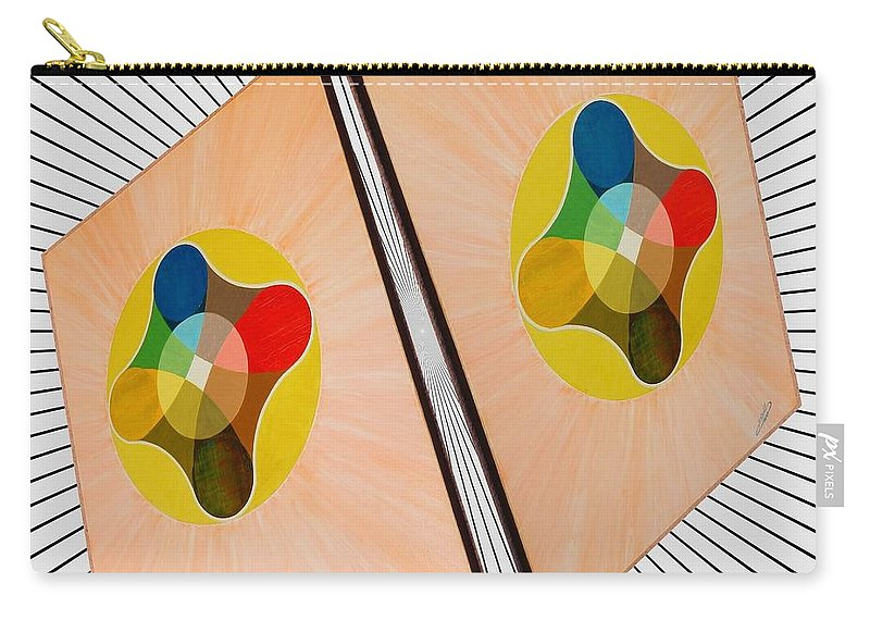Shots Carry-all Pouch featuring the painting Shots Shifted - Le Soleil 4 by Michael Bellon