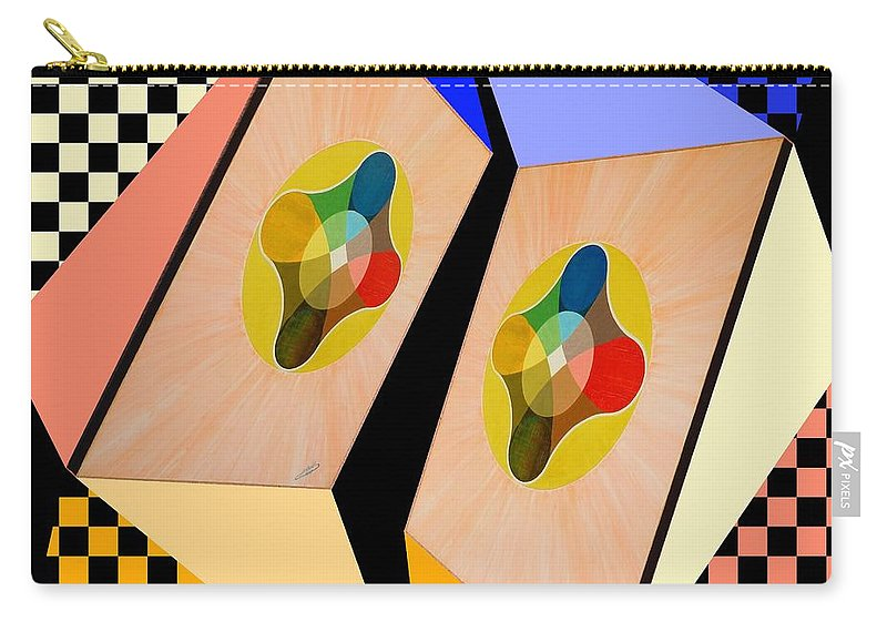Shots Carry-all Pouch featuring the painting Shots Shifted - Le Soleil 5 by Michael Bellon