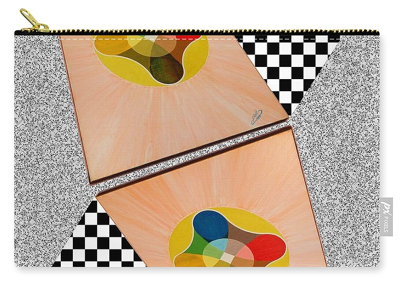 Shots Carry-all Pouch featuring the painting Shots Shifted - Le Soleil 6 by Michael Bellon