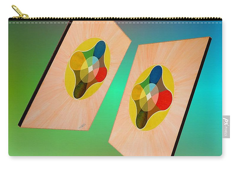 Shots Carry-all Pouch featuring the painting Shots Shifted - Le Soleil 7 by Michael Bellon