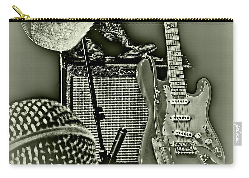 Music Carry-all Pouch featuring the photograph Show's Over - B W by Robert Frederick