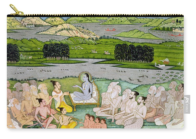 Hindu Mythology Carry-all Pouch featuring the drawing Shri Sukdevji Preaching To A Concourse by Indian School