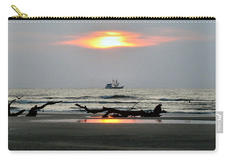 Shrimp Boat Carry-all Pouch featuring the photograph Shrimp Boat At Sunrise by Carol Luzzi