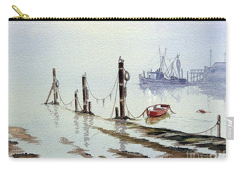 Florida Paintings Carry-all Pouch featuring the painting Shrimp Boat With Evening Lights by Bill Holkham