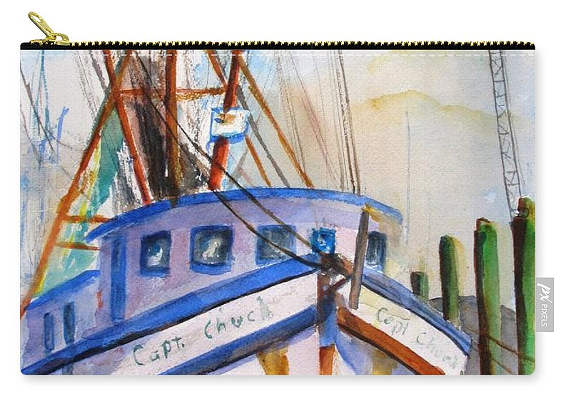 Boat Carry-all Pouch featuring the painting Shrimp Fishing Boat by Carlin Blahnik CarlinArtWatercolor