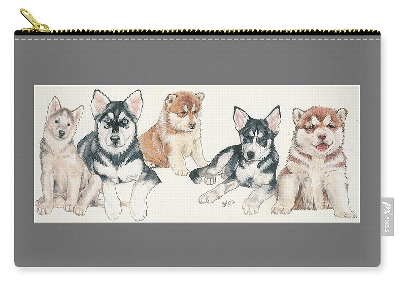 Working Group Carry-all Pouch featuring the mixed media Siberian Husky Puppies by Barbara Keith