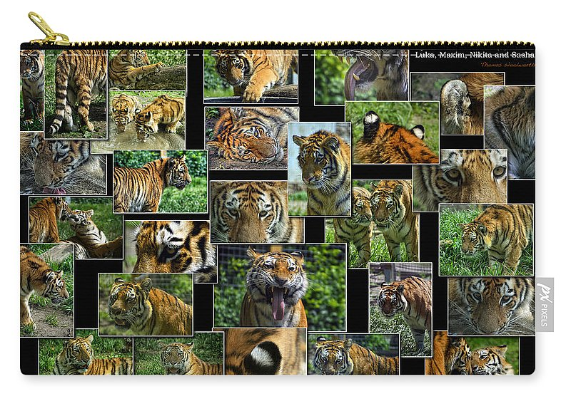 Animals Carry-all Pouch featuring the photograph Siberian Tiger Collage by Thomas Woolworth