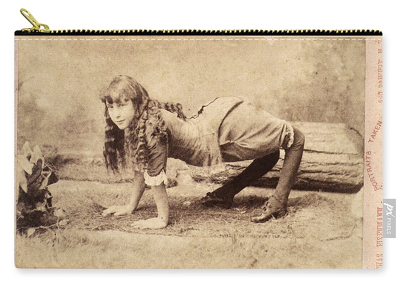 1886 Carry-all Pouch featuring the photograph Sideshow Camel Girl, 1886 by Granger