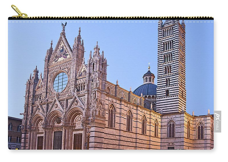 Marble Carry-all Pouch featuring the photograph Siena Duomo At Sunset by Liz Leyden