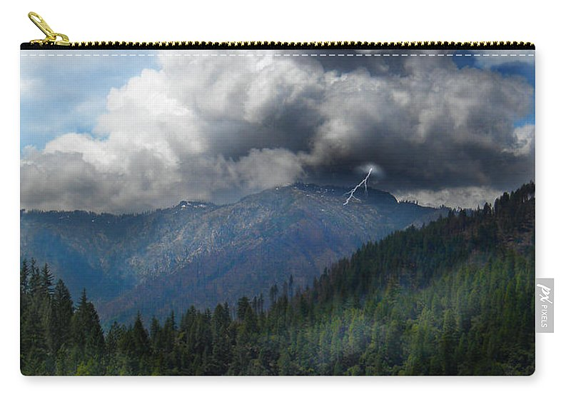 Sierra Nevada Lighting Strike Carry-all Pouch featuring the photograph Sierra Nevada Lighting Strike by Frank Wilson