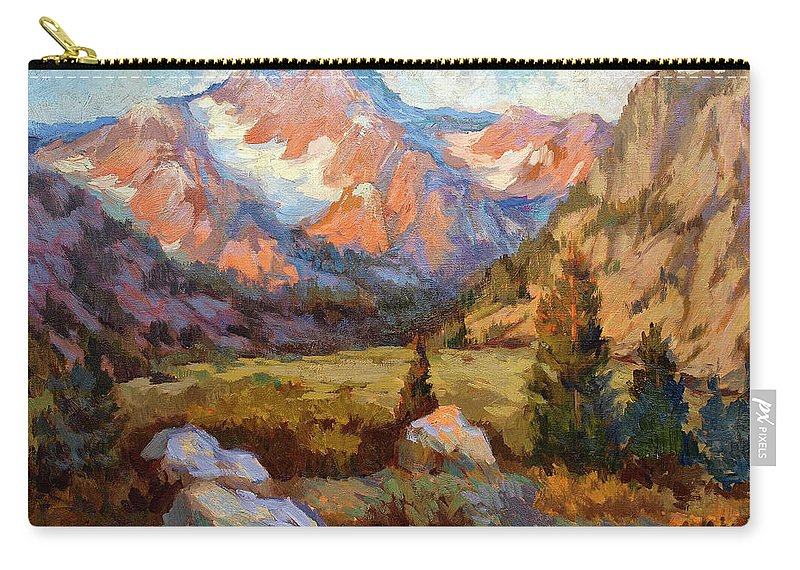 Sierra Nevada Mountains Carry-all Pouch featuring the painting Sierra Nevada Mountains by Diane McClary