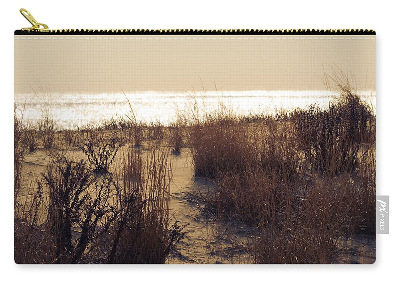 Beach Carry-all Pouch featuring the mixed media Sierra Sunrise by Trish Tritz