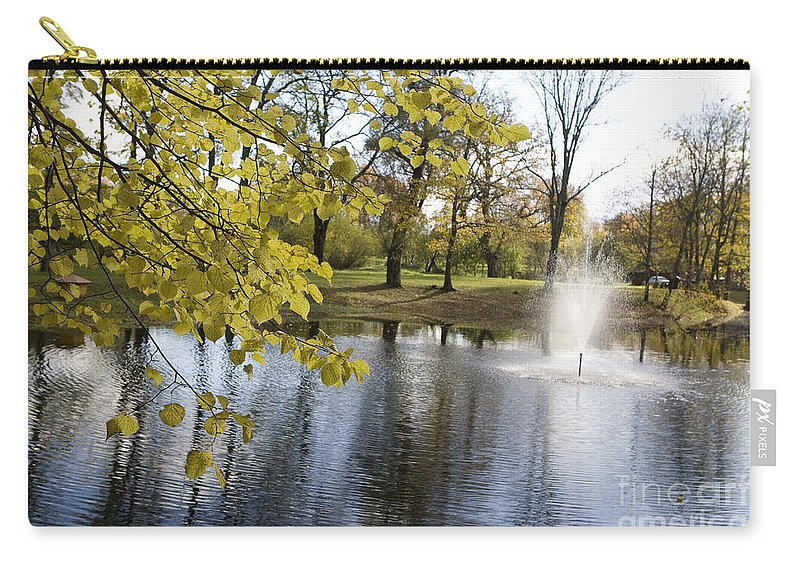 Travel Carry-all Pouch featuring the photograph Sigulda Pond by Jason O Watson