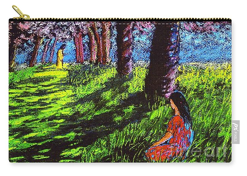 Jesus Carry-all Pouch featuring the painting Contemporary Jesus Painting, Silent Communion by Jane Small