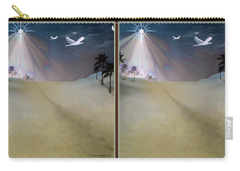 Brian Wallace Carry-all Pouch featuring the digital art Silent Night - Gently Cross Your Eyes And Focus On The Middle Image by Brian Wallace