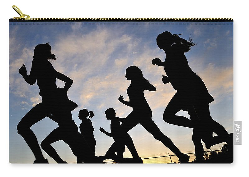 Running Carry-all Pouch featuring the photograph Silhouette Female Runners by Patrick Herrera