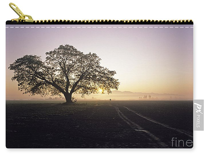 Travel Carry-all Pouch featuring the photograph Silhouetted Tree In Field Sunrise by Jim Corwin