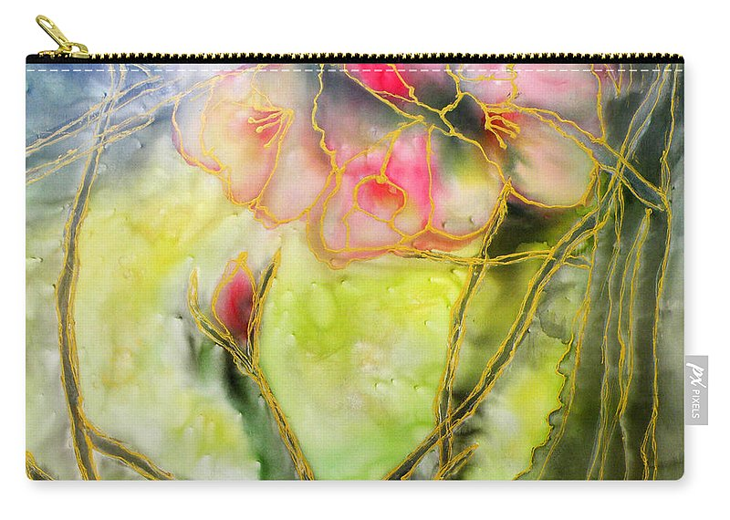 Augusta Stylianou Carry-all Pouch featuring the painting Silky Almond Flower by Augusta Stylianou