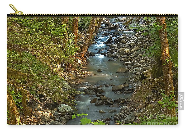 Nature Carry-all Pouch featuring the photograph Silky Stream In Rain Forest Landscape Art Prints by Valerie Garner
