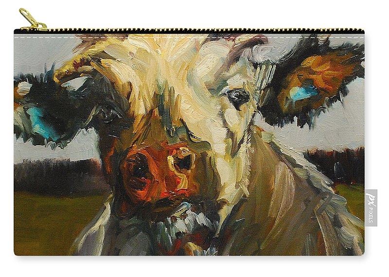 Cow Carry-all Pouch featuring the painting Silly Cow by Diane Whitehead