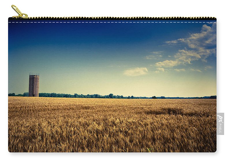 Wheat Carry-all Pouch featuring the photograph Silo In Wheat by Eric Benjamin