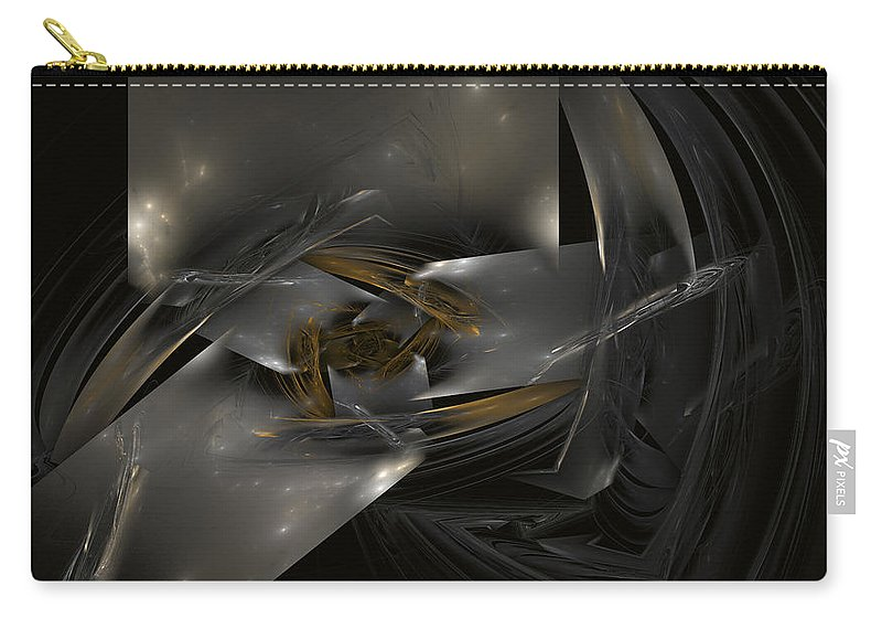 Silver Cubes Carry-all Pouch featuring the digital art Silver Cubes by David Ridley