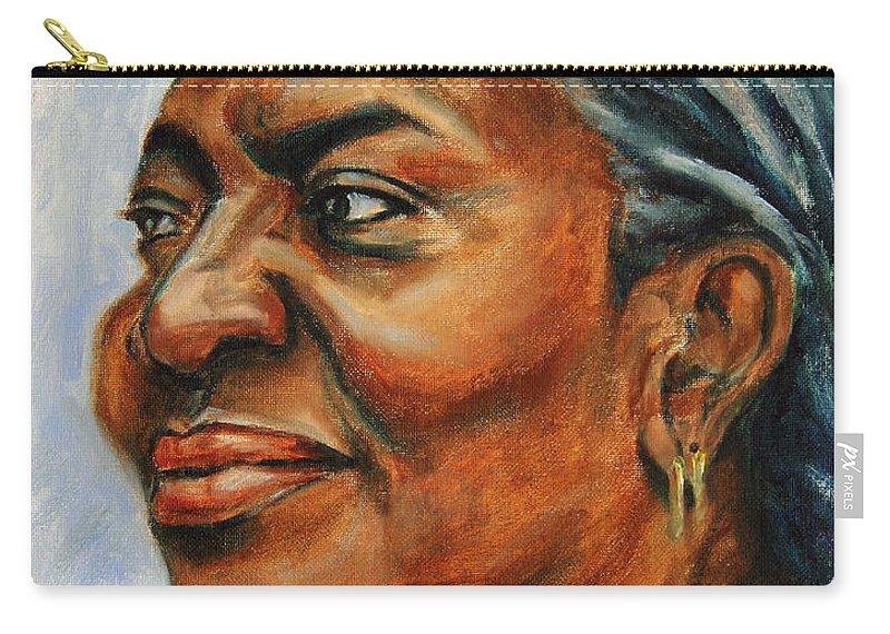 Soul-mate Carry-all Pouch featuring the painting Silver Girl by Xueling Zou
