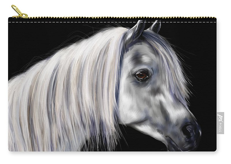 Arab Carry-all Pouch featuring the painting Grey Arabian Mare Painting by Michelle Wrighton