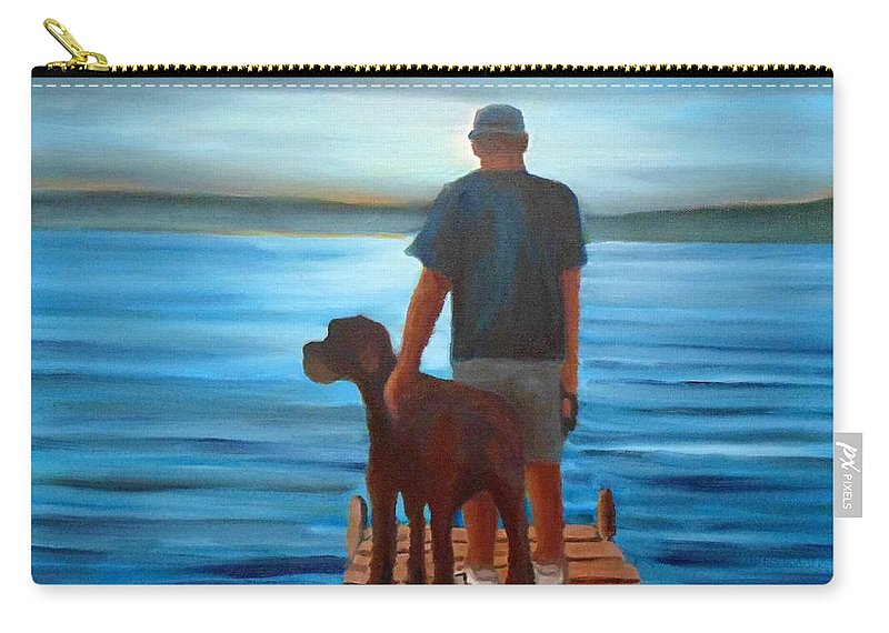 Silver Sunset Carry-all Pouch featuring the painting Silver Sunset by John Malone
