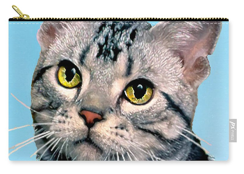 Animals Carry-all Pouch featuring the painting Silver Tabby Kitten Original Painting For Sale by Bob and Nadine Johnston
