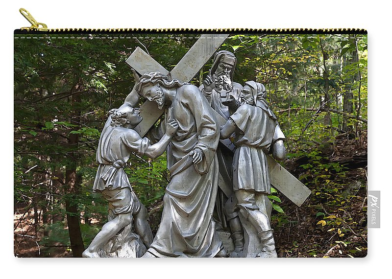 Angel Carry-all Pouch featuring the photograph Simon Helps Jesus by Terry Reynoldson