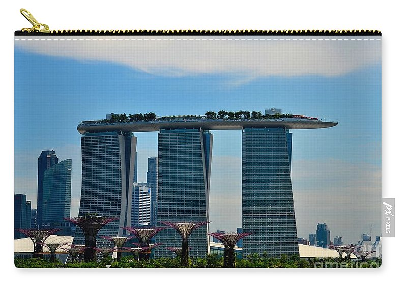 Singapore Carry-all Pouch featuring the photograph Singapore Skyline With Marina Bay Sands And Gardens By The Bay Supertrees by Imran Ahmed