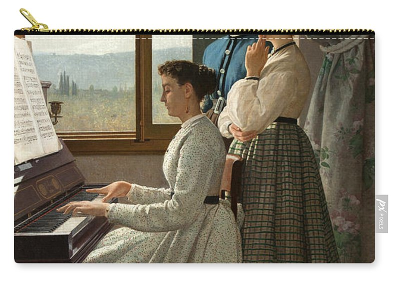 Silvestro Lega Carry-all Pouch featuring the painting Singing A Ditty by Silvestro Lega