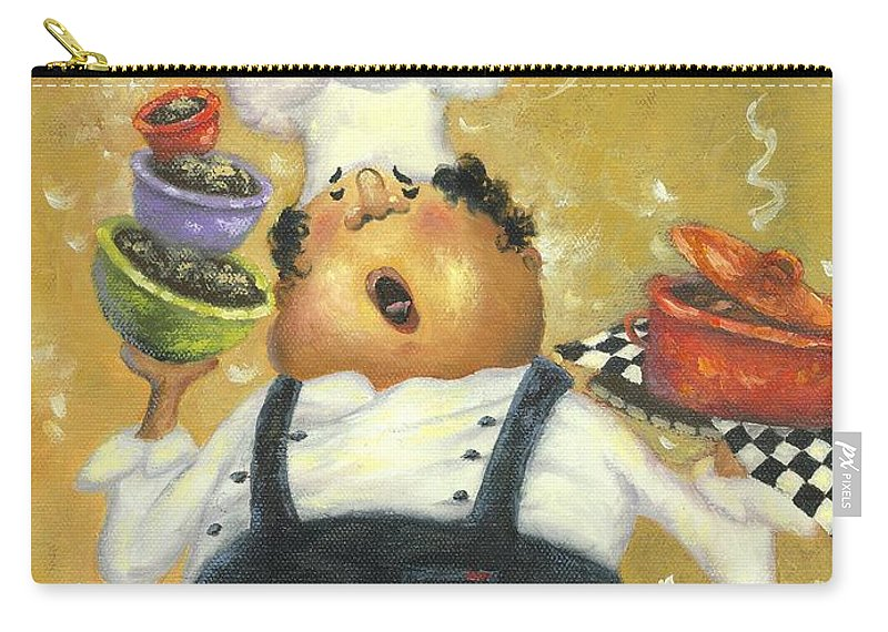 Chef Carry-all Pouch featuring the painting Singing Chef In Gold by Vickie Wade