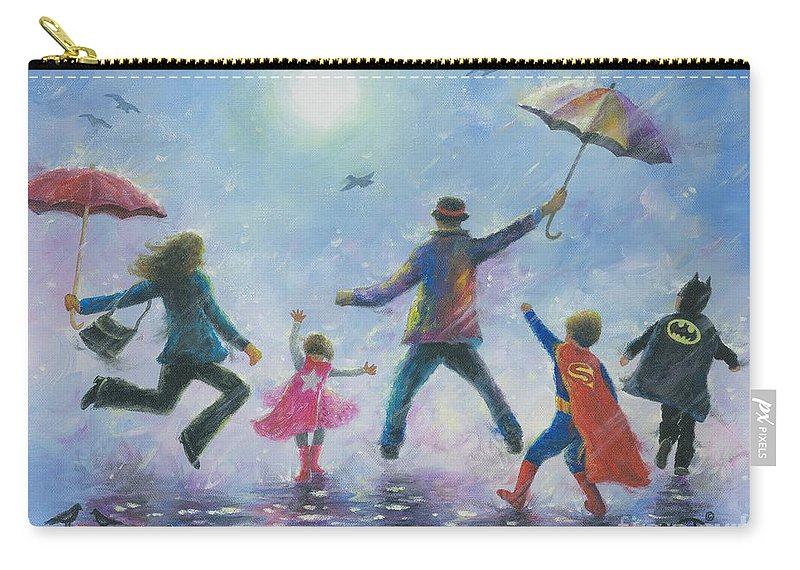 Happy Family Carry-all Pouch featuring the painting Singing In The Rain Super Hero Kids by Vickie Wade