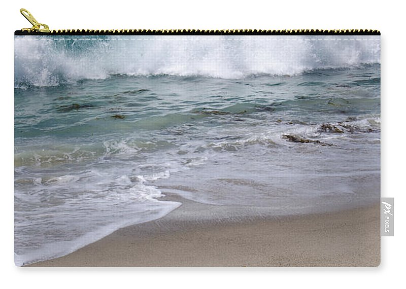 Seagull Carry-all Pouch featuring the photograph Single Seagull On The Beach by Robert VanDerWal