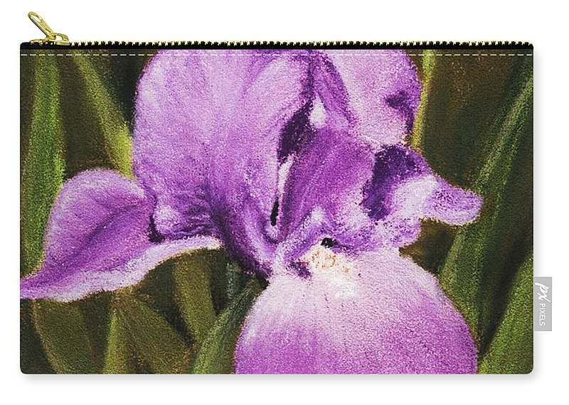 Plant Carry-all Pouch featuring the painting Single Iris by Anastasiya Malakhova