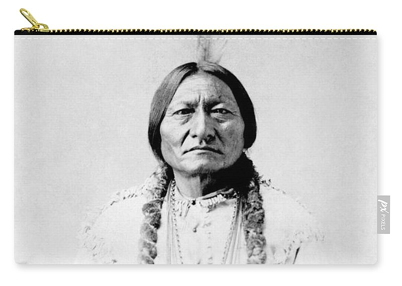 Native American Carry-all Pouch featuring the photograph Sioux Chief Sitting Bull by War Is Hell Store