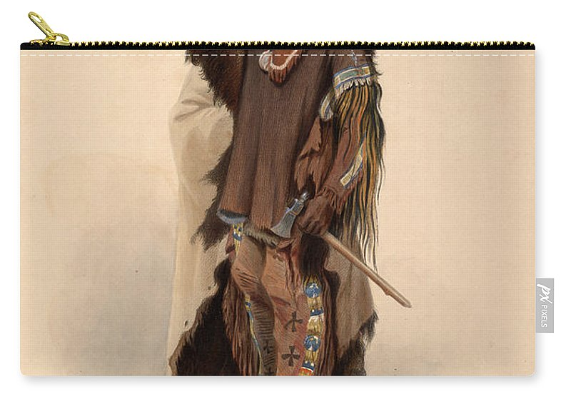 Karl Bodmer Carry-all Pouch featuring the painting Sioux Warrior by Karl Bodmer