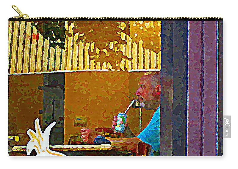 Carry-all Pouch featuring the painting Sipping A Seven Up At Dagwoods Window Seat At The Sandwich Shop Montreal Summer Scene Carole Spandau by Carole Spandau