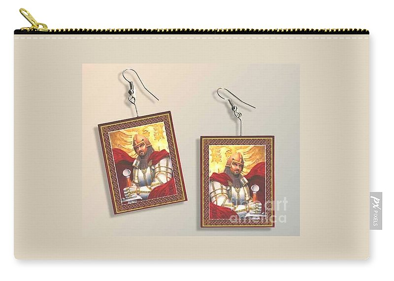 Paper Earrings Carry-all Pouch featuring the digital art Sir Gawain Paper Earrings by Melissa A Benson
