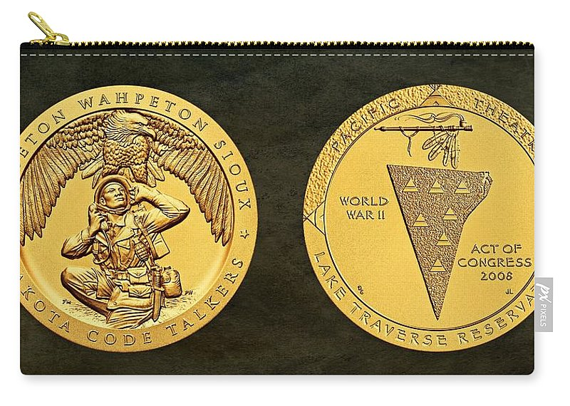 Sisseton Wahpeton Oyate Carry-all Pouch featuring the photograph Sisseton Wahpeton Oyate Sioux Tribe Code Talkers Bronze Medal Art by Movie Poster Prints
