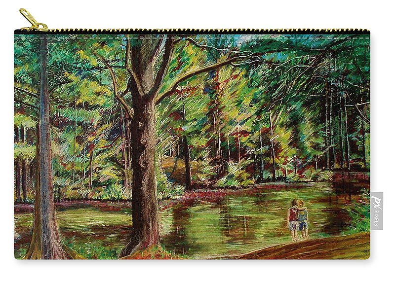 New Hampshire Carry-all Pouch featuring the pastel Sisters At Wason Pond by Sean Connolly