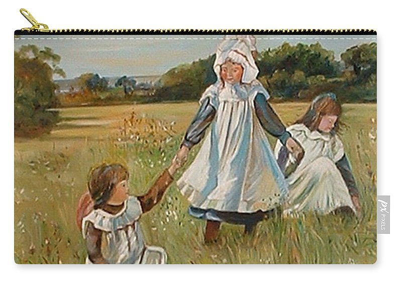 Classic Art Carry-all Pouch featuring the painting Sisters by Silvana Abel