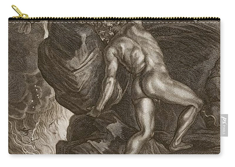 Punishment Carry-all Pouch featuring the drawing Sisyphus Pushing His Stone by Bernard Picart