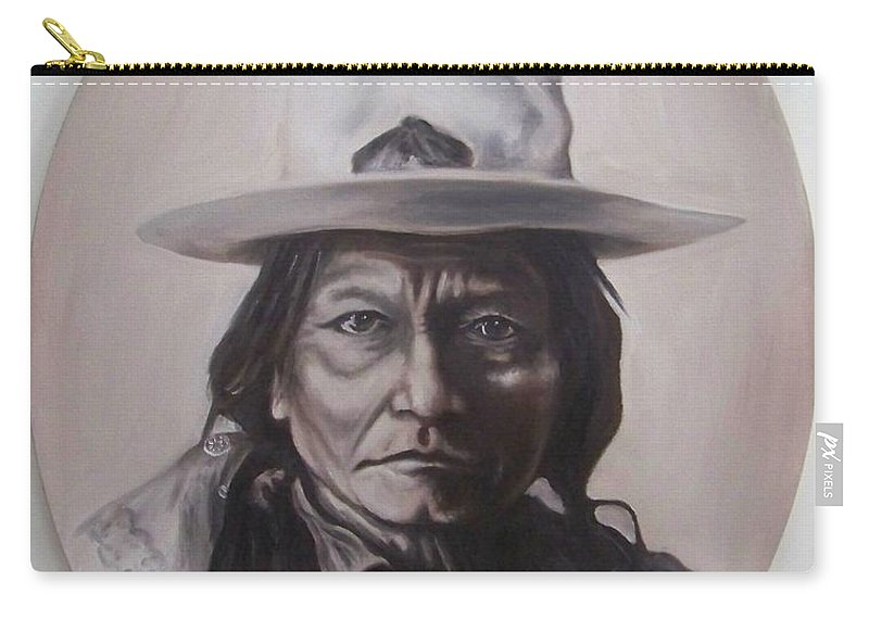 Michael Carry-all Pouch featuring the painting Sitting Bull by Michael TMAD Finney