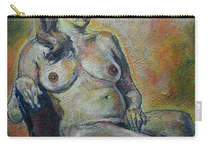 Raija Merila Carry-all Pouch featuring the painting Sitting Nude by Raija Merila