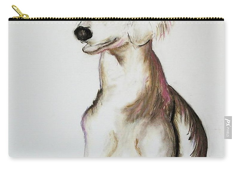 Saluki Carry-all Pouch featuring the drawing Sitting Pretty by Cori Solomon