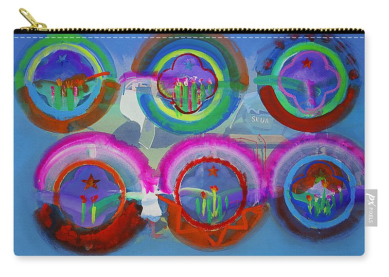 Texas Art Carry-all Pouch featuring the digital art Six American Spring Icons by Charles Stuart